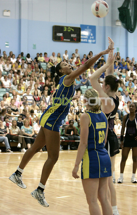 PIC BY PHIL SEARLE/SWPIX : 2006 figleaves.com Superleague Final, Guildford Spectrum.Geva Mentor....03/06/06....Geva Mentor of TeamBath defends against Mavericks in the first ever figleaves.com Superleague Final played at the Guildford Spectrum. TeamBath won the match 43-35(Photo: Phil Searle)