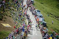 Jan Bakelants (BEL/OmegaPharma-Quickstep) up the Port de Balès (HC/1755m/11.7km/7.7%)<br /> <br /> 2014 Tour de France<br /> stage 16: Carcassonne - Bagnères-de-Luchon (237km)