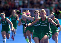 Ireland's Chloe Watkins celebrates her team getting into the final<br /> <br /> Photographer Hannah Fountain/CameraSport<br /> <br /> Vitality Hockey Women's World Cup - Ireland v Spain - Saturday 4th August 2018 - Lee Valley Hockey and Tennis Centre - Stratford<br /> <br /> World Copyright &copy; 2018 CameraSport. All rights reserved. 43 Linden Ave. Countesthorpe. Leicester. England. LE8 5PG - Tel: +44 (0) 116 277 4147 - admin@camerasport.com - www.camerasport.com