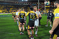 The teams shake hands after the Super Rugby semifinal match between the Hurricanes and Chiefs at Westpac Stadium, Wellington, New Zealand on Saturday, 30 July 2016. Photo: Dave Lintott / lintottphoto.co.nz