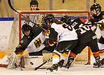 09.01.2020, BLZ Arena, Füssen / Fuessen, GER, IIHF Ice Hockey U18 Women's World Championship DIV I Group A, <br /> Japan (JPN) vs Deutschland (GER), <br /> im Bild Hinata Corazon Lack (JPN, #16) scheitert an dt Abwehr, Sofie Disl (GER, #20), Ronja Hark (GER, #8) und Nina Christof (GER, #6)<br /> <br /> Foto © nordphoto / Hafner