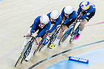 The team of United States with Kelly Catlin, Chloe Dygert, Kimberly Geist and Jennifer Valente compete in the Women's Team Pursuit - Qualifying as part of the 2017 UCI Track Cycling World Championships on 12 April 2017, in Hong Kong Velodrome, Hong Kong, China. Photo by Chris Wong / Power Sport Images