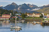 View of the Pioneer Home looking across the Sitka boat harbor, Sitka, Alaska