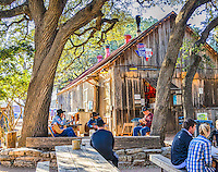 At almost anytime you can enjoy some live music at the picker circle in Luckenbach while enjoying a beer and some snack from the Feed Lot.  The weather was nice today so there were a few out back take in the music.