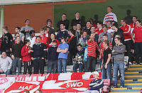 Home fans taunting the away support in the Hamilton Academical v Motherwell friendly match played at New Douglas Park, Hamilton on 24.7.12..