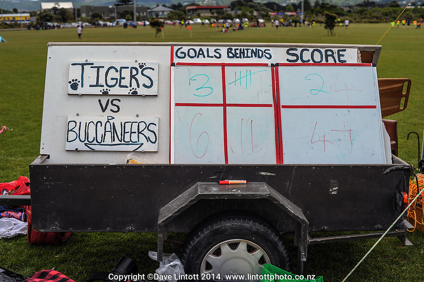 The scoreboard at the end of the Wellington Australian Rules Football National Provincial Championship final match between the Wellington Tiger and Auckland Buccaneers at Hutt Park, Wellington, New Zealand on Saturday, 6 December 2014. Photo: Dave Lintott / lintottphoto.co.nz