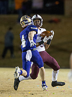 NWA Democrat-Gazette/BEN GOFF @NWABENGOFF<br /> Cameron Cox (3), Prescott receiver, catches a pass under pressure from Mike Hesson (4), Booneville defender, in the third quarter Saturday, Dec. 1, 2018, during the class 3A state semifinal game at Bearcat Stadium in Booneville.