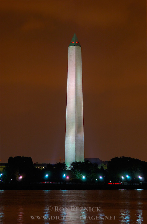 Washington Monument at Night, Potomac Tidal Basin from FDR Memorial, Washington DC