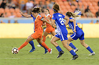 Houston, TX - Wednesday June 28, 2017: Carli Lloyd brings the ball up the field during a regular season National Women's Soccer League (NWSL) match between the Houston Dash and the Boston Breakers at BBVA Compass Stadium.