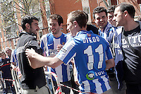 Real Sociedad's Enaut Zubikarai with the supporters after La Liga match.April 14,2013. (ALTERPHOTOS/Acero)