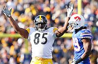 BUFFALO, NY - NOVEMBER 28:  David Johnson #85 of the Pittsburgh Steelers signals for a good field goal during the game against the Buffalo Bills on November 28, 2010 at Ralph Wilson Stadium in Orchard Park, New York.  (Photo by Jared Wickerham/Getty Images)