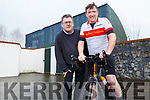 Tommy Sheehy on his bike with Sean Scally as Tommy launches his Spinathon for Enable Ireland which will be going ahead on Saturday week.