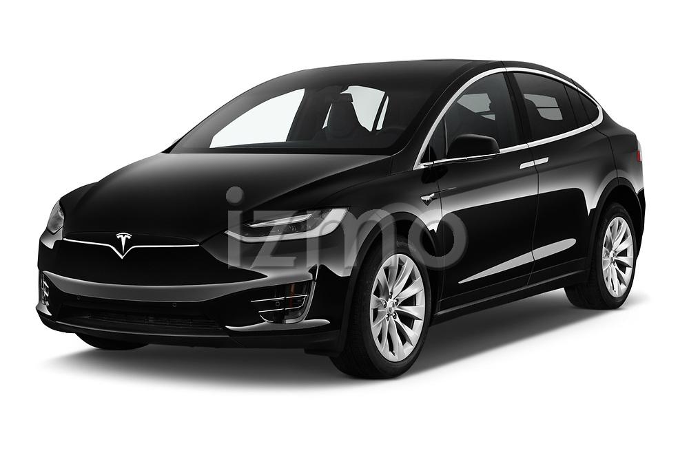 2017 Tesla Model-X 75D 5 Door SUV Angular Front stock photos of front three quarter view