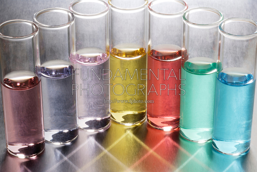 TRANSITION METAL SOLUTIONS-CHARACTERISTIC COLORS<br /> Colors Caused By Nature of the Metal Ion<br /> The color results from the transition of electrons between the two closely spaced d orbitals. (l-r): Ti3+ (pink/purple), Cr3+ (blue/purple), Mn2 (pale pink), Fe (yellow), Co2 (rose), Ni2 (green), Cu2 (blue/turquoise)