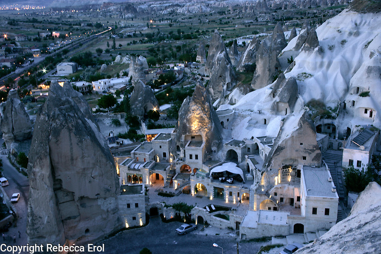 Goreme village at night, Cappadocia, Turkey