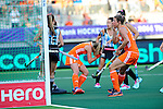 The Hague, Netherlands, June 12: Xan de Waard #3 of The Netherlands and Kim Lammers #23 of The Netherlands react to a missed chance during the field hockey semi-final match (Women) between The Netherlands and Argentina on June 12, 2014 during the World Cup 2014 at Kyocera Stadium in The Hague, Netherlands. Final score 4-0 (3-0)  (Photo by Dirk Markgraf / www.265-images.com) *** Local caption ***