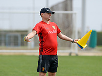 20180304 - LARNACA , CYPRUS :  Belgian head coach Ives Serneels pictured during a Matchday -1 training from The Belgian Red Flames prior to their game against Austria , on Sunday 4 March 2018 at the Alpha Sports Grounds in Larnaca , Cyprus . This will be the third game in group B for Belgium during the Cyprus Womens Cup , a prestigious women soccer tournament as a preparation on the World Cup 2019 qualification duels. PHOTO SPORTPIX.BE | DAVID CATRY
