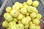 RALEIGH, NC - MARCH 29: A basket of softballs sits in the bullpen. The North Carolina State University Wolfpack hosted the Liberty University Flames on March 29, 2017, at Dail Softball Stadium in Raleigh, NC in a Division I College Softball game. Liberty won the game 5-3.