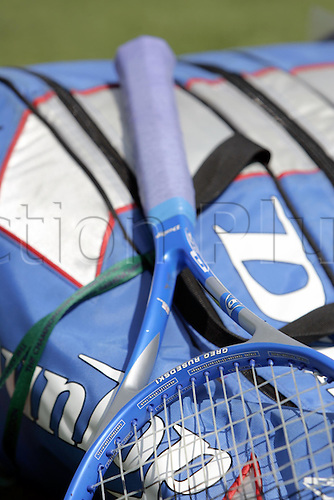 20 June 2005: Close up view of a tennis racket and bag during Day 1 at the Wimbledon Tennis Championships. Photo: Steve Bardens/Actionplus....050620 championships tennis detail ident racquet rackets racquets