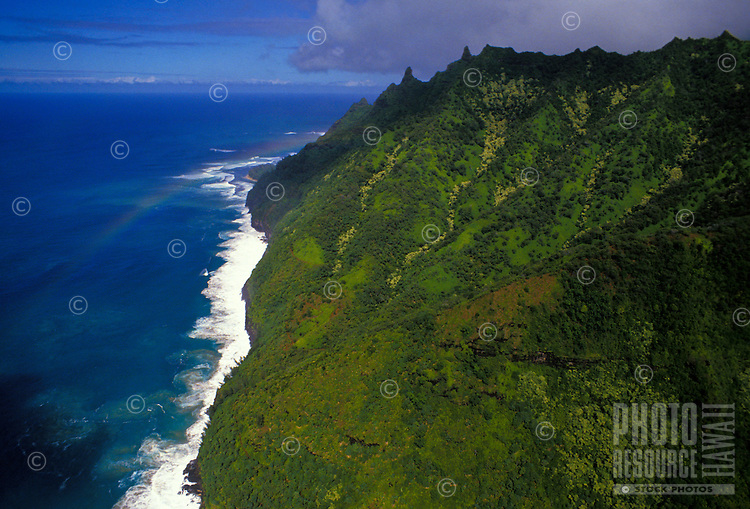 Na Pali coastline with mountains and rainbow, North shore Kauai