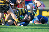 Ki Anufe gets swamped by teamates after scoring the final try of the Counties Manukau Premier 1 McNamara Cup Final between Ardmore Marist and Bombay, played at Navigation Homes Stadium on Saturday July 20th 2019.<br />  Bombay won the McNamara Cup for the 5th time in 6 years, 33 - 18 after leading 14 - 10 at halftime.<br /> Photo by Richard Spranger.
