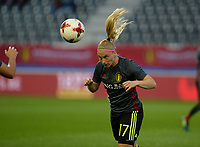 20170919 - LEUVEN , BELGIUM : Belgian Jana Coryn pictured during the female soccer game between the Belgian Red Flames and Moldova , the first game in the qualificaton for the World Championship qualification round in group 6 for France 2019, Tuesday 19 th September 2017 at OHL Stadion Den Dreef in Leuven , Belgium. PHOTO SPORTPIX.BE | BELGA | DAVID CATRY