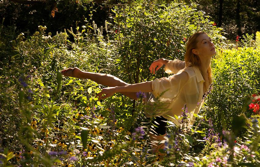 Gregory Holmgren Photography dance, movement project, model, dancer Julie Justine at garden near Belvedere Castle, Central Park, New York, New York, September 10, 2012