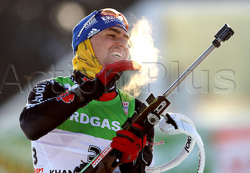08.03.2011 IBU Biathlon World Cup from Khanty Mansiysk in Russia. Picture shows the shooting and Michael Greis ger