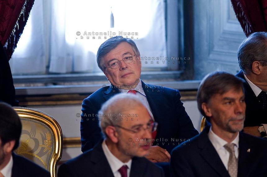 Flavio Zanonato, ministro Sviluppo Economico  durante la cerimonia del giuramento del nuovo Governo Letta nel Salone delle Feste del Quirinale.