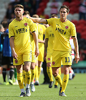 Fleetwood Town's Josh Morris (right) consoles Wes Burns at the final whistle<br /> <br /> Photographer David Shipman/CameraSport<br /> <br /> The EFL Sky Bet League One - Doncaster Rovers v Fleetwood Town - Saturday 17th August 2019  - Keepmoat Stadium - Doncaster<br /> <br /> World Copyright © 2019 CameraSport. All rights reserved. 43 Linden Ave. Countesthorpe. Leicester. England. LE8 5PG - Tel: +44 (0) 116 277 4147 - admin@camerasport.com - www.camerasport.com