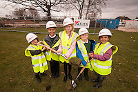Pictured at the Turf Cutting Ceremony at Annie Holgate Primary School in Hucknall, from left are Abbey Davies, 6, Tyrell Atkinson, 7, Isabella Richards, 9, Alfie Grant, 6 and China Atkinson, 5