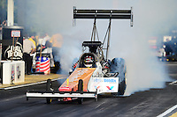May 4, 2012; Commerce, GA, USA: NHRA top fuel dragster driver Clay Millican during qualifying for the Southern Nationals at Atlanta Dragway. Mandatory Credit: Mark J. Rebilas-