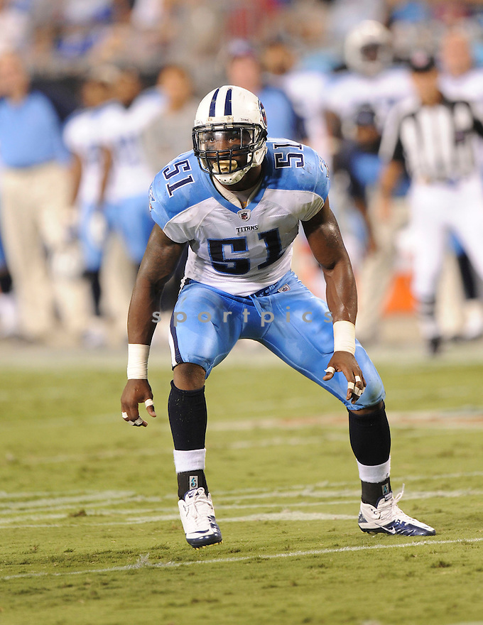 GERALD MCGRATH, of the Tennessee Titans, in action during the Titans game against the Carolina Panthers  at Bank of America Stadium in Charlotte, North Carolina on Saturday, August 28, 2010.   The Panthers  would defeat the Titans 15-7....