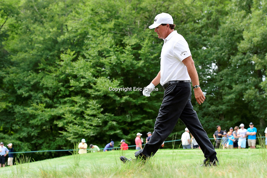 Saturday, September 3, 2016:  Phil Mickelson heads down the sixth fairway during the second round of the Deutsche Bank Championship tournament held at the Tournament Players Club, in Norton, Massachusetts.  Eric Canha/Cal Sport Media