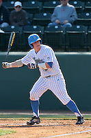 Tyler Heineman #8 of the UCLA Bruins bats against the Maryland Terrapins at Jackie Robinson Stadium on February 19, 2012 in Los Angeles,California. Maryland defeated UCLA 5-1.(Larry Goren/Four Seam Images)