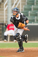 Kevin Dubler #35 of the Kannapolis Intimidators makes a throw to second base against the Hagerstown Suns at Fieldcrest Cannon Stadium August 10, 2010, in Kannapolis, North Carolina.  Photo by Brian Westerholt / Four Seam Images