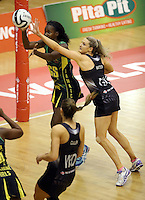 14.09.2016 Silver Ferns Jane Watson and Jamacia's Shantal Slater in action during the Taini Jamison netball match between the Silver Ferns and Jamaica played at Arena Manawatu in Palmerston North. Mandatory Photo Credit ©Michael Bradley.