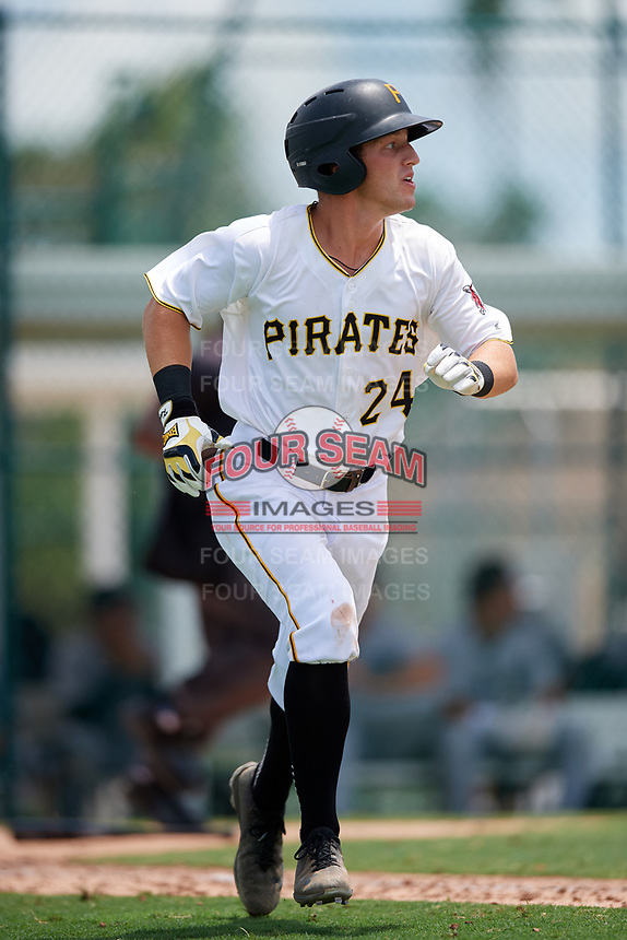 GCL Pirates shortstop Kyle Mottice (24) runs to first base during a game against the GCL Tigers West on August 13, 2018 at Pirate City Complex in Bradenton, Florida.  GCL Tigers West defeated GCL Pirates 5-1.  (Mike Janes/Four Seam Images)