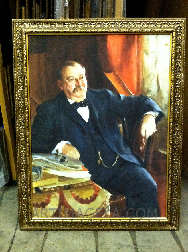 Reproduction of Anders Zorn (1860-1920)<br /> Stephen Grover Cleveland (1837-1908). Twenty-second and twenty-fourth President of the United States. 1899. Oil on canvas, 121.9 x 91.4 cm. Location:<br /> National Portrait Gallery, Smithsonian Institution, Washington <br /> Reproduction Stretcher Size 48&quot; x 36&quot; Plus Frame Portrait from the National Portrait Gallery