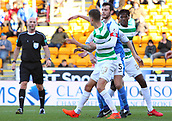 4th November 2017, McDiarmid Park, Perth, Scotland; Scottish Premiership football, St Johnstone versus Celtic; Mikael Lustig is held in the box