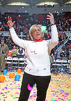 UVa head coach Debbie Ryan celebrates during the Last Ball in U-Hall ceremony closing out the UVa women's Basketball season after the beat Clemson 2-26-06.