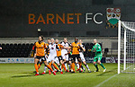 Barnet 2 Morecambe 0, 16/12/2017. The Hive, League Two. Morecambe players defend a corner. Photo by Paul Thompson.