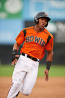 Bowie Baysox right fielder D'Arby Myers (6) runs the bases during the first game of a doubleheader against the Trenton Thunder on June 13, 2018 at Prince George's Stadium in Bowie, Maryland.  Trenton defeated Bowie 4-3.  (Mike Janes/Four Seam Images)