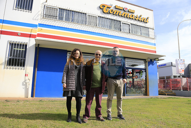 Founder Irio Tommassini centre with daughter Barbara and son in law Alessandro outside the Tommasini factory based in Grosseto, Tuscany, Italy 6th March 2017.<br /> Picture: Eoin Clarke | Newsfile<br /> <br /> <br /> All photos usage must carry mandatory copyright credit (© Newsfile | Eoin Clarke)