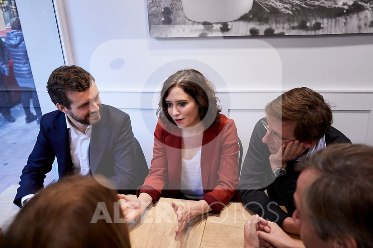 (L-R) Pablo Casado, Isabel Diaz Ayuso and Jose Luis Martinez-Almeida during the Partido Popular leader Pablo Casado voting in Madrid at Nuestra Senora del Pilar school in Madrid, Spain. November 10, 2019. November 10, 2019. (ALTERPHOTOS/A. Perez Meca)