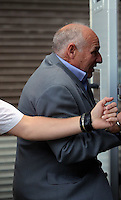 Pictured: John Barry Hargreaves is taken away in a prison van after the hearing at Merthyr Tydfil Crown Court. Friday 16 September 2016<br /> Re: Rogue traders Matthew Hargreaves and John Barry Hargreaves have been jailed for 18 months and Jean Hargreaves has been given  suspended sentence by Merthyr Tydfil Crown Court for selling a teeth whitening product with harmful levels of hydrogen peroxide, 110 times the legal limit, after a three year nationwide investigation by Powys County Council's Trading Standards Service culminated in guilty pleas being entered by three Manchester based rogue traders. <br /> Charges relating to Fraud and Consumer Protection offences were pursued relating to the sale of unsafe teeth whitening products across the UK.