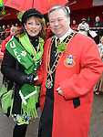 Grand Marshal of the St Patrick's day parade pictured with Mayor of Drogheda Paul Bell. Photo:Colin Bell/pressphotos.ie