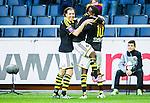 Solna 2015-04-26 Fotboll Allsvenskan AIK - &Ouml;rebro SK :  <br /> AIK:s Henok Goitom gratuleras efter sitt 2-0 m&aring;l av Nils-Eric Johansson och Ebenezer Ofori under matchen mellan AIK och &Ouml;rebro SK <br /> (Foto: Kenta J&ouml;nsson) Nyckelord:  AIK Gnaget Friends Arena Allsvenskan &Ouml;rebro &Ouml;SK jubel gl&auml;dje lycka glad happy