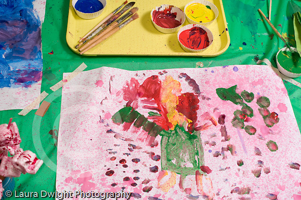 Education Preschool 3-5 year olds painting by 4 year old girl reconizable shapes horizontal