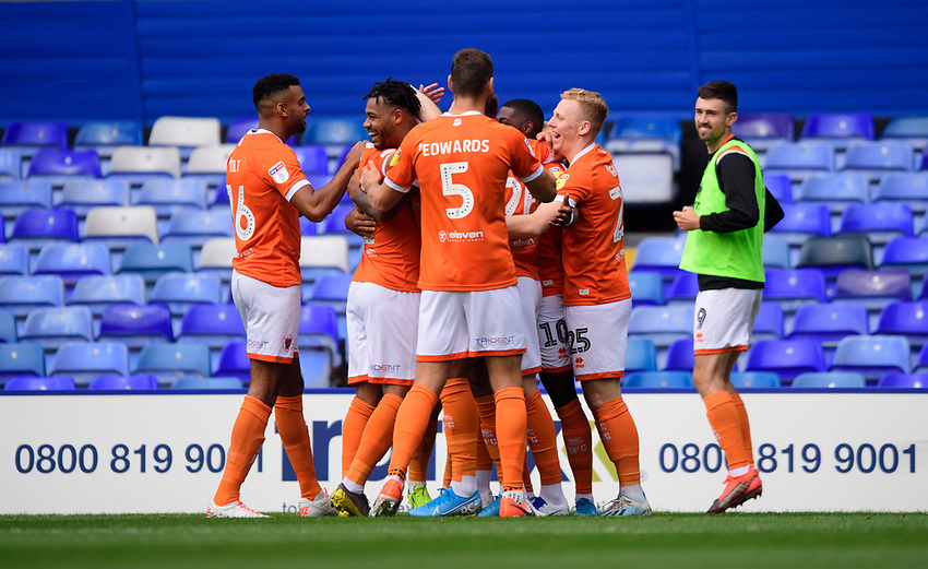 Blackpool's Sullay Kaikai celebrates scoring the opening goal with team-mates<br /> <br /> Photographer Chris Vaughan/CameraSport<br /> <br /> The EFL Sky Bet League One - Coventry City v Blackpool - Saturday 7th September 2019 - St Andrew's - Birmingham<br /> <br /> World Copyright © 2019 CameraSport. All rights reserved. 43 Linden Ave. Countesthorpe. Leicester. England. LE8 5PG - Tel: +44 (0) 116 277 4147 - admin@camerasport.com - www.camerasport.com